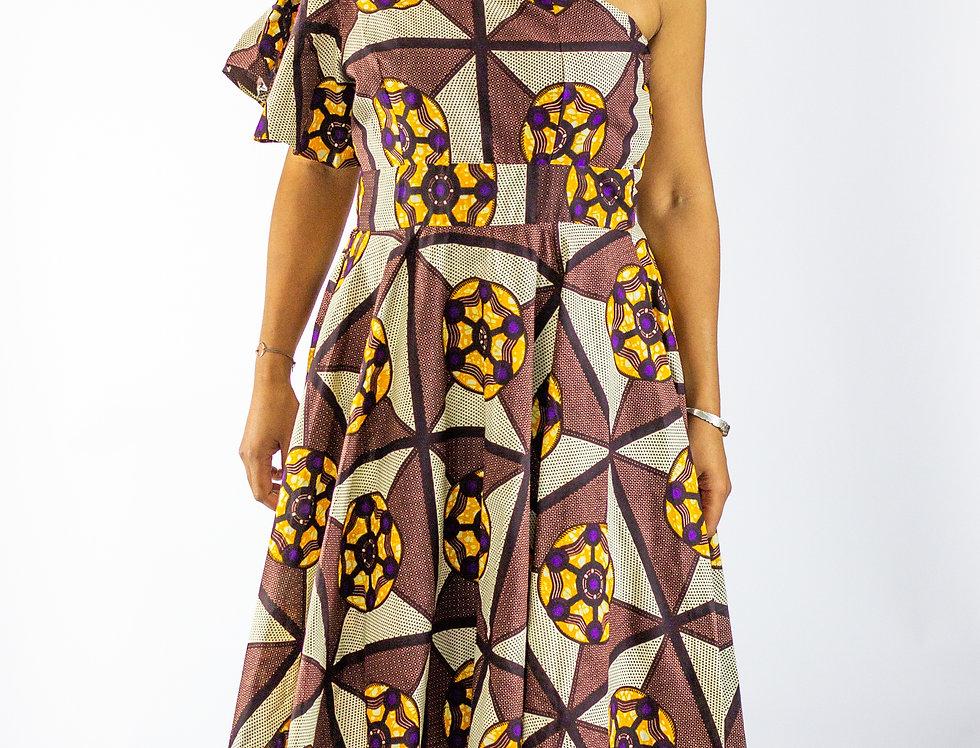 Hunu One Shoulder Mid Length Dress