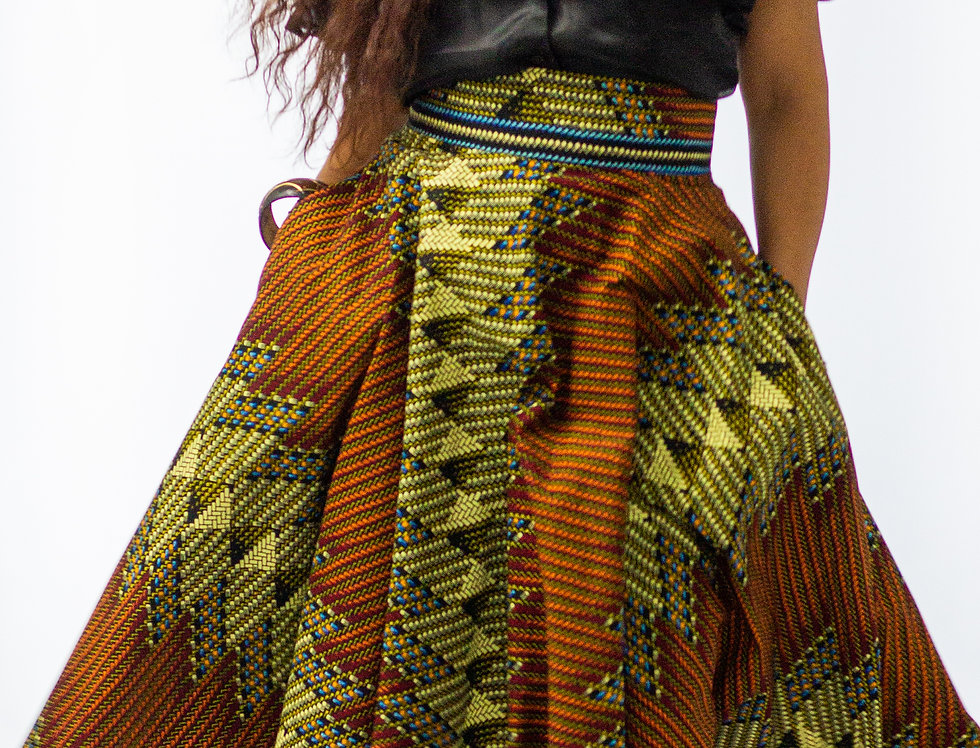 Gyasi Dipped Hem Floor Length Skirt