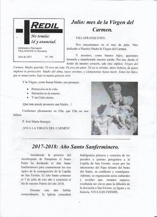 "VILLAFRANCA - Hoja Parroquial ""Redil 199"" - Julio 2017"