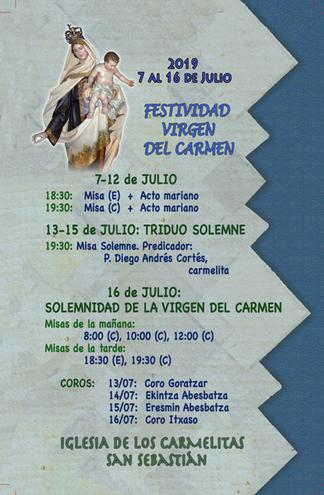 DONOSTI - SAN SEBASTIÁN - Actos marianos, triduo y Solemnidad del Carmen