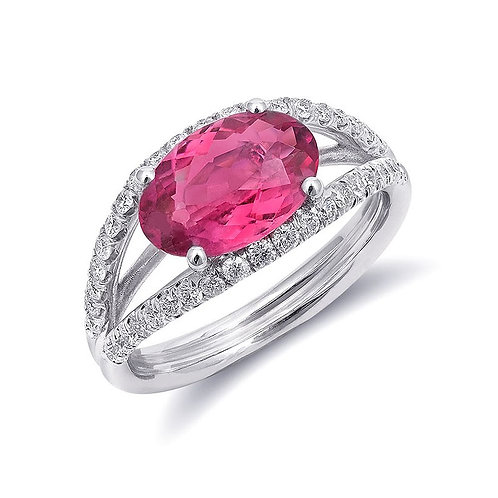 14k White Gold 2.18ct TGW Natural Pink Tourmaline and White Diamond Ring