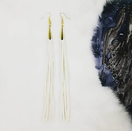 White & Gold Fringe 7""