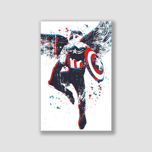 Captain America Stencil Print
