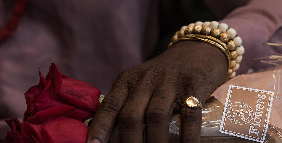 Gold & Ivory Beaded Bracelet Set