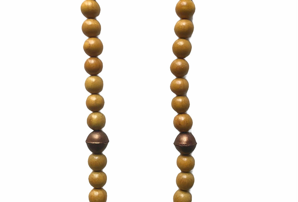 Leather Accent Beaded Necklace - Bronze