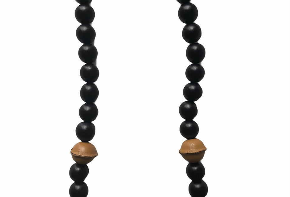 Leather Accent Beaded Necklace - Natural