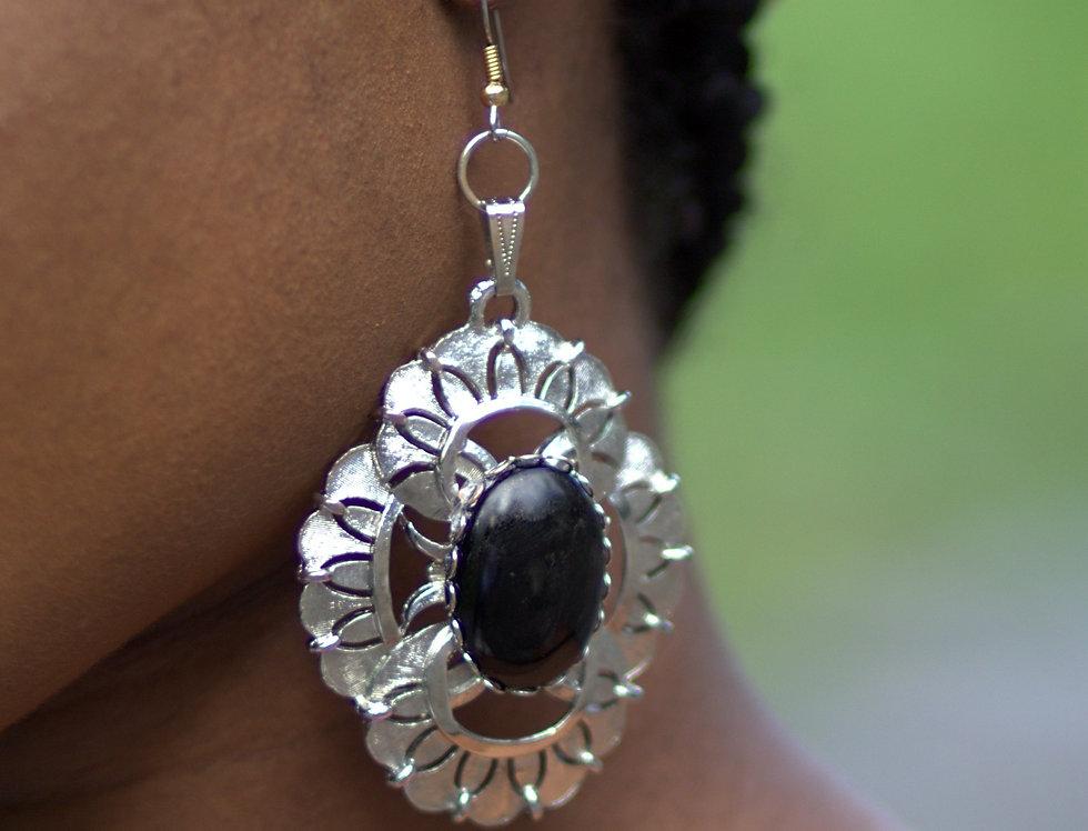 Silver Geometric Dangle Earrings - Black
