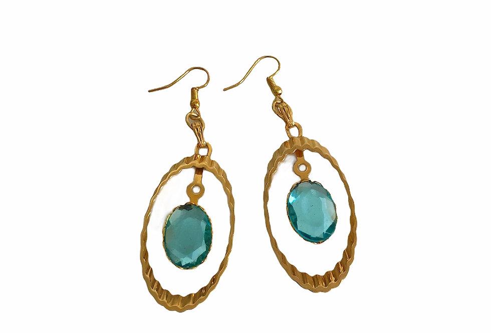 Orb Dangle Earrings - Aqua