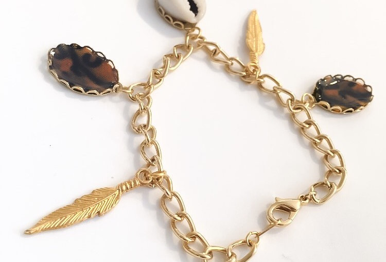 Cowrie & Ankara Charm Bracelet / Anklet