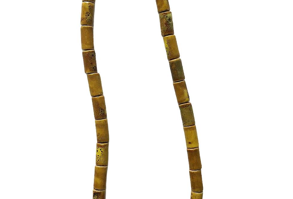 Tribal Tube Beaded Necklace - Yellow