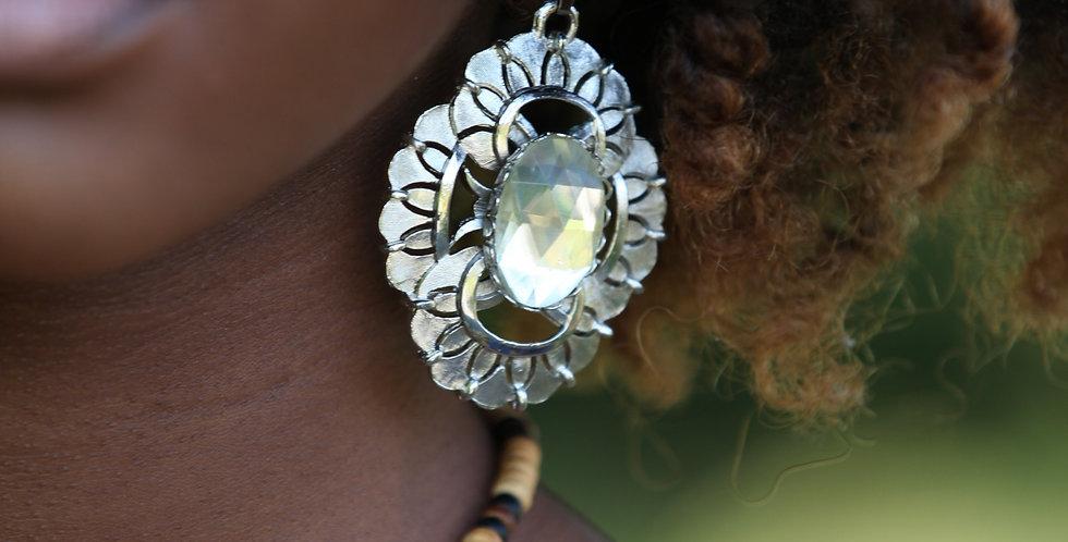 Silver Geometric Dangle Earrings - Clear