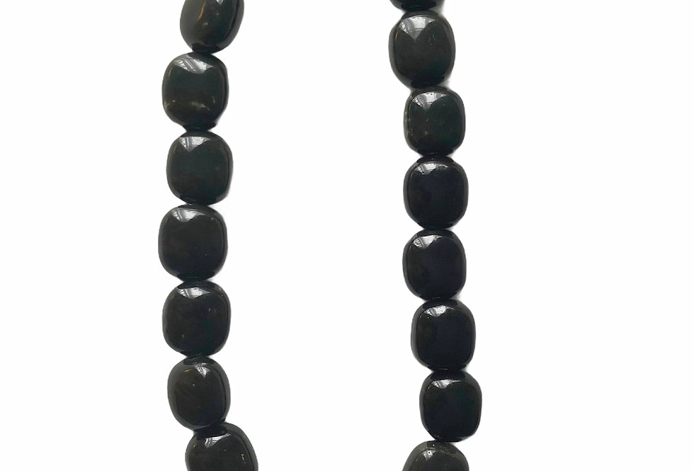 Square Up Beaded Necklace - Black/Dark Green