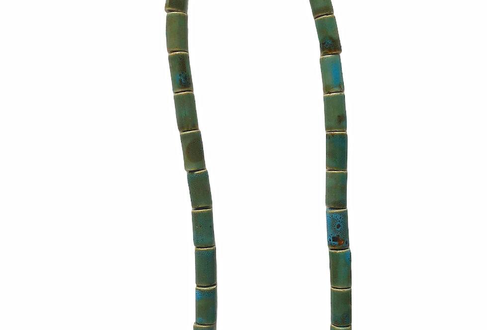 Tribal Tube Beaded Necklace - Aqua