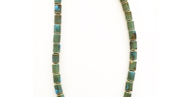 Tribal Tube Beaded Necklace - Aqua