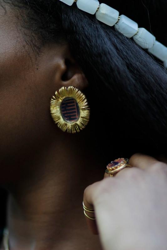 Slinky Ankara Stud Earrings