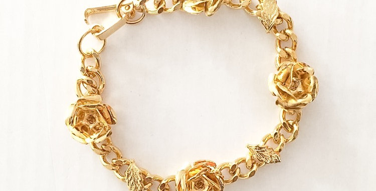 Rosey Leaves Chain Link Bracelet