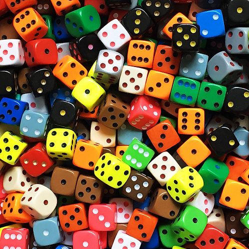 20 Random 6-Sided Die | Assorted Colours/Sizes