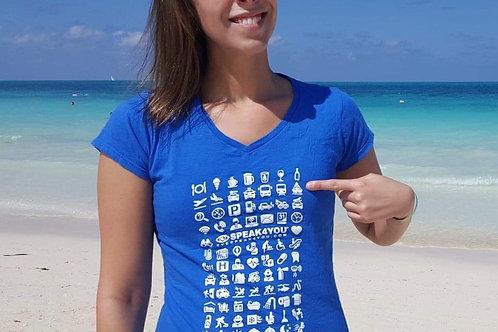 T-shirt pour femmes EYESPEAK4YOU - 100% Cotton - Col en V