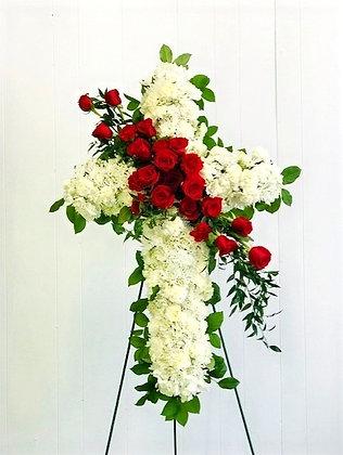 STANDING CROSS WHITE & RED