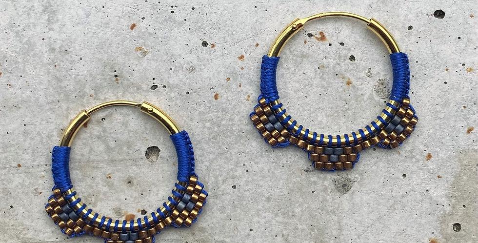 kreolen silber vergoldet, blau/gold, 2.5 cm