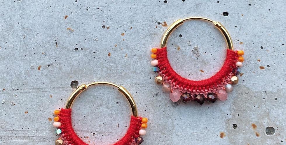 kreolen vergoldet, rot pink, 2.5 cm