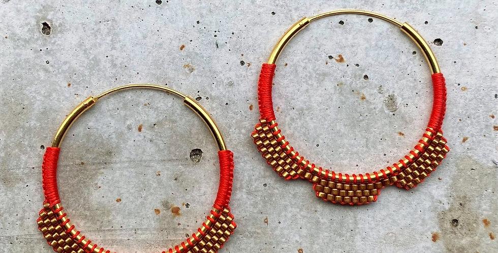 kreolen vergoldet, rot, 4 cm