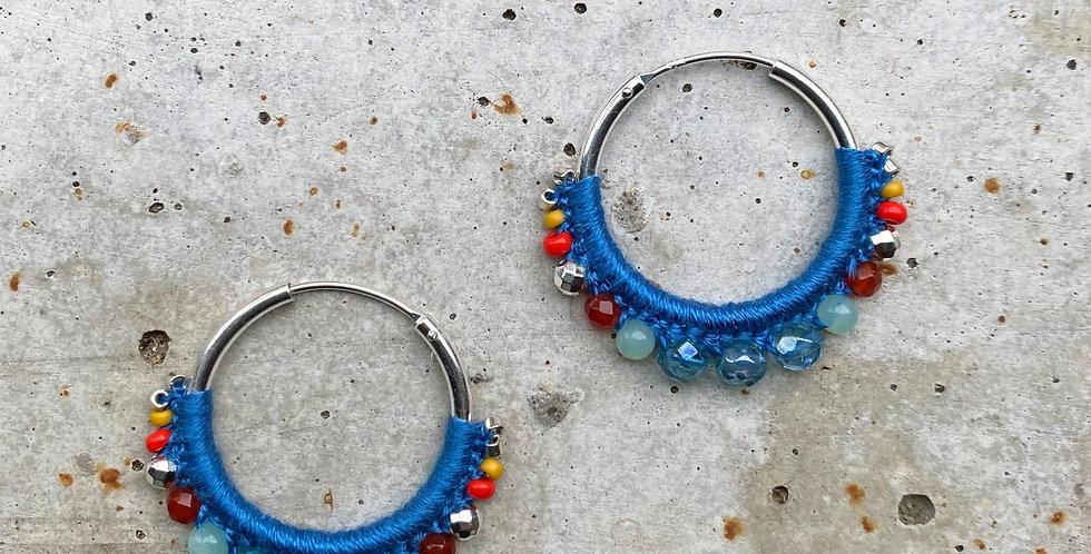 kreolen silber, blau, 2.5 cm
