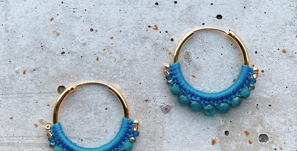 kreolen vergoldet, blau, 2.5 cm