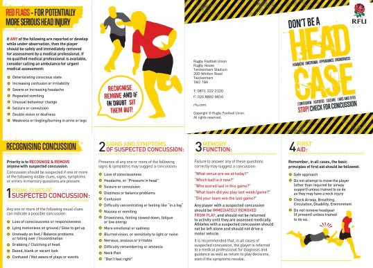 RFU Headcase Concussion Advice Card   Download this card from the Junior Section Main Page