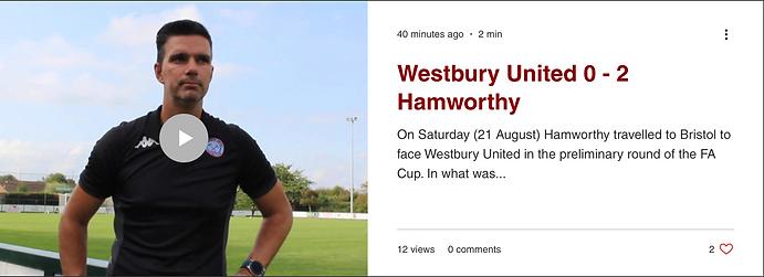 Hamworthy FA Cup Game Match Report