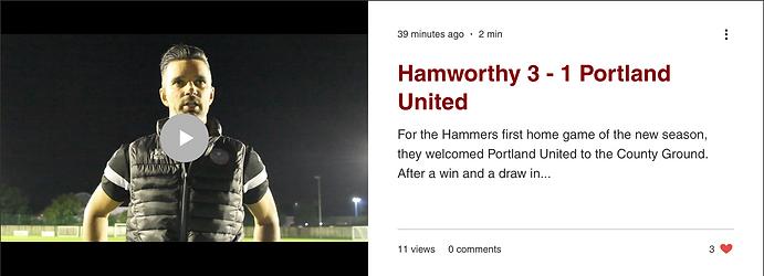 Hamworthy Match Report w/ Interviews