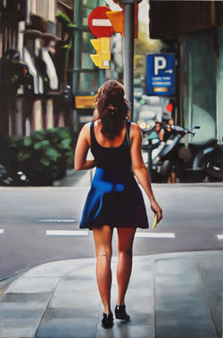 Blue dress in the city