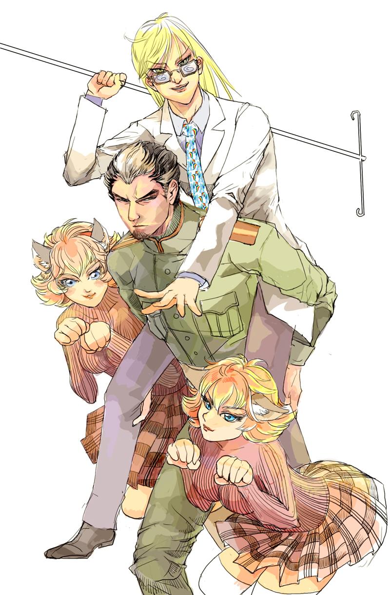 史瓦利醫生、史可拉托夫上校與兩隻戴娜貓