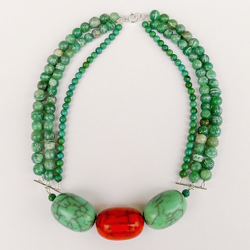 Silver, resin and gemstones necklace