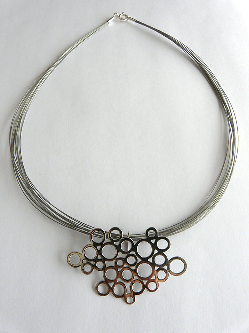 Silver and steel necklace