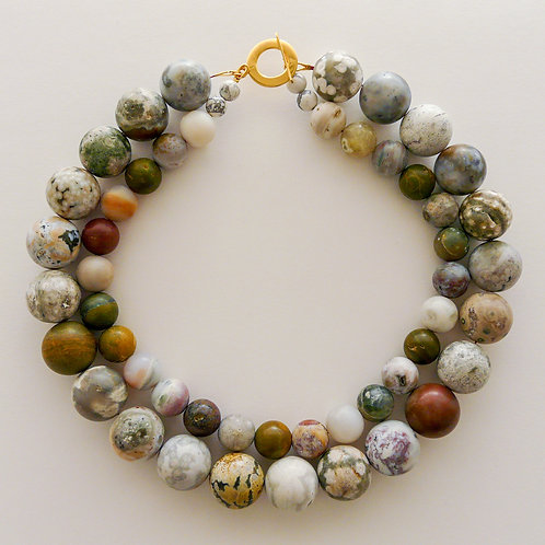 Silver and gemstones necklace