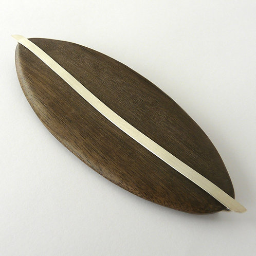 Silver and wood brooch