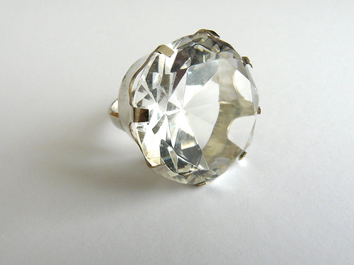 Silver ring with crystal