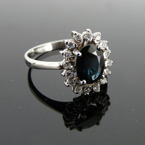 White gold ring with gemstone