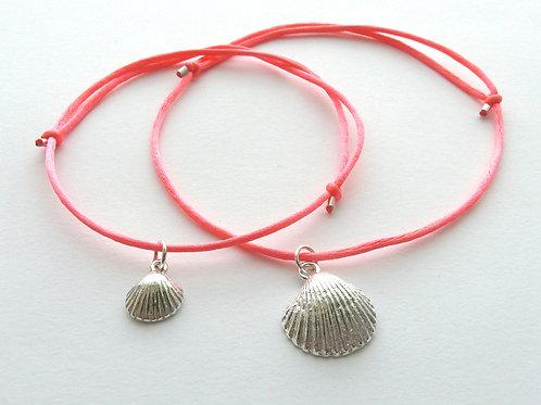 Silver bracelet with silk