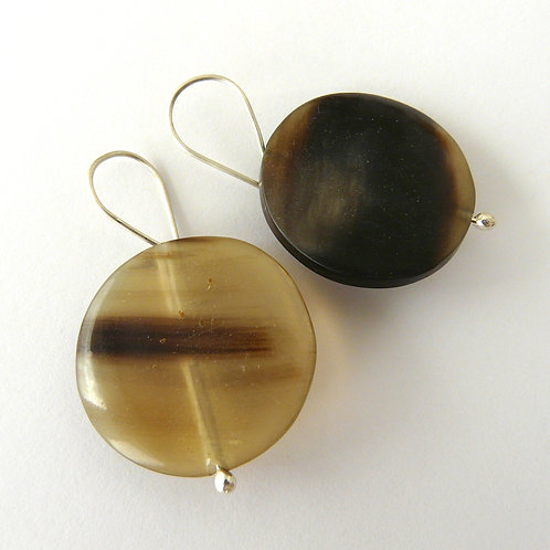 Silver and horn earrings