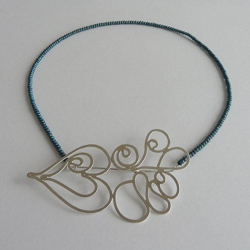 Silver necklace/brooch with gemstones