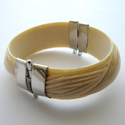 Silver and horn bangle