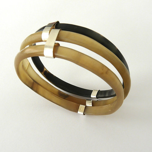 Silver and horn bangles