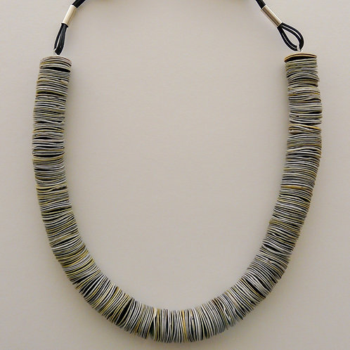 Silver, shell and horn necklace