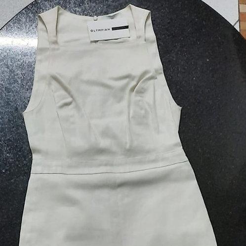 Vestido sarja Branco com Fenda