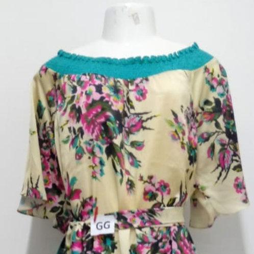 Vestido trapézio florido Plus Size