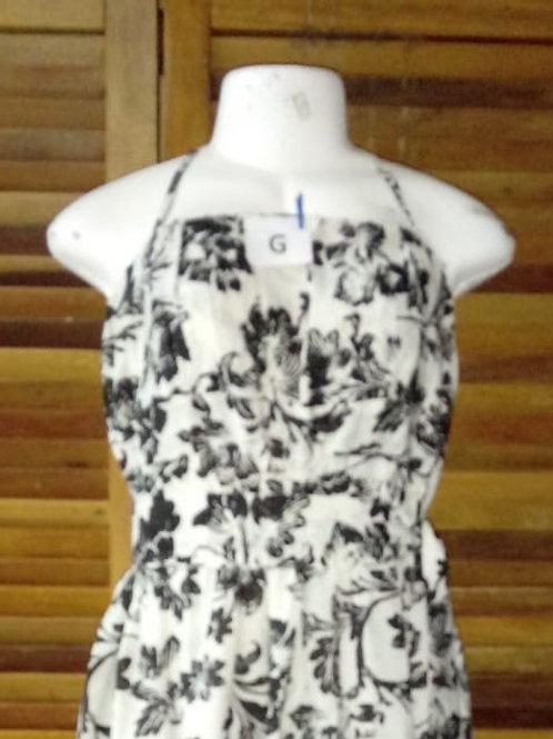 Vestido de alça floral em preto e branco