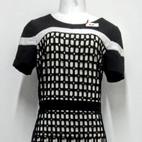 Vestido trabalhado preto e branco