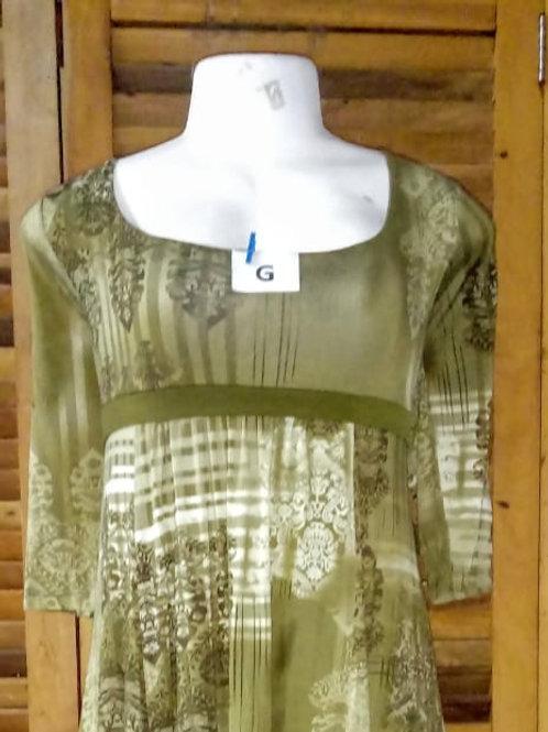 Vestido de crepe estampado (verde)